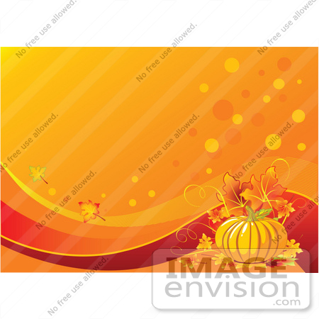 #56318 Royalty-Free (RF) Clip Art Illustration Of A Lit Candle With Berries, Leaves And A Pumpkin On An Orange Thanksgiving Background by pushkin