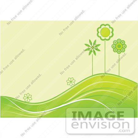 #56320 Royalty-Free (RF) Clip Art Illustration Of A Summer Green Background Of Flowers And Trees Growing On Rolling Hills by pushkin