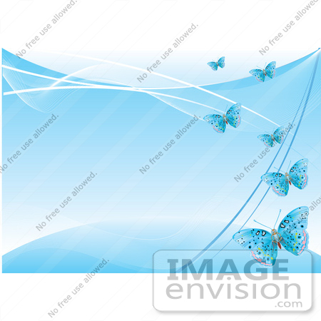 #56322 Royalty-Free (RF) Clip Art Illustration Of A Blue Background With Blue Flying Butterflies by pushkin