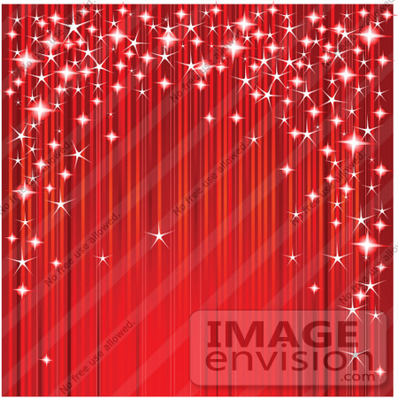 #56332 Royalty-Free (RF) Clip Art Illustration Of A Red Stage Drapery Curtain With Magical Sparkles by pushkin