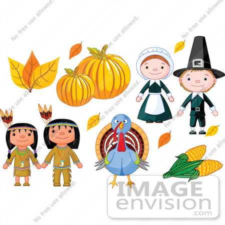 #56344 Royalty-Free (RF) Clip Art Illustration Of A Thanksgiving Digital Collage Of Autumn Leaves, Pumpkins, Pilgrims, Corn, A Turkey And Native Americans by pushkin