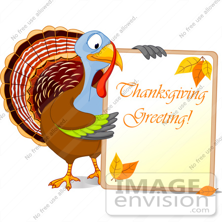 Thanksgiving Clip  Images on Rf  Clip Art Illustration Of A Turkey Bird Holding A Thanksgiving