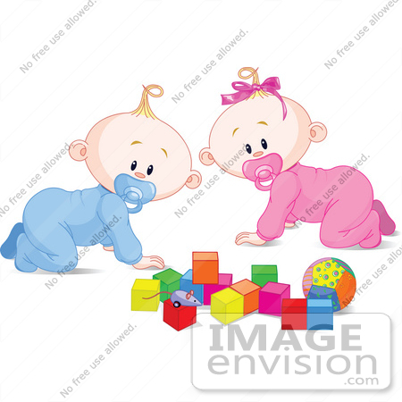 #56348 Royalty-Free (RF) Clip Art Illustration Of A Baby Boy And Girl Crawing By Toys by pushkin
