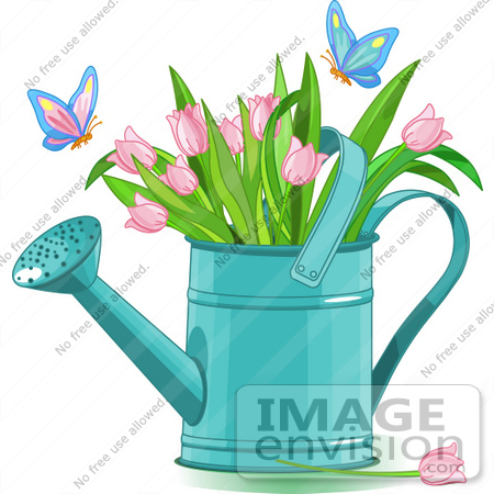 #56361 Clip Art Illustration Of Butterflies Landing On Pink Tulips In A Watering Can by pushkin