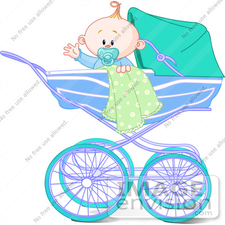 #56369 Clip Art Illustration Of A Waving Baby Boy With A Blanket And Pacifier, In A Carriage by pushkin