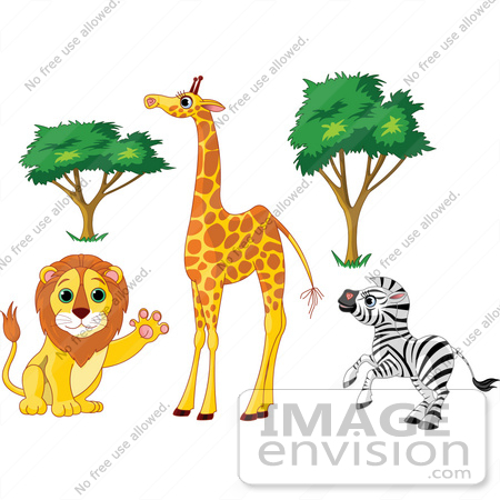 #56377 Royalty-Free (RF) Clip Art Illustration Of A Digital Collage Of African Trees And Animals; Friendly Lion, Tall Giraffe And Rearing Zebra by pushkin