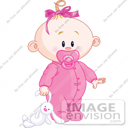 Royalty-Free (RF) Clip Art Illustration Of A Baby Girl Dragging A ...