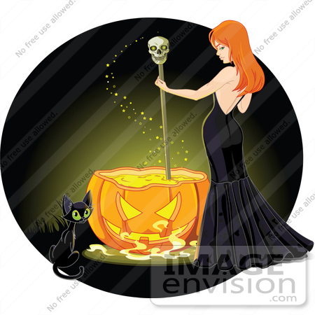 #56390 Royalty-Free (RF) Clip Art Illustration Of A Cat By A Sexy Red Haired Witch Stirring A Spell In A Pumpkin Cauldron, On A Green by pushkin
