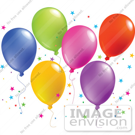 #56391 Royalty-Free (RF) Clip Art Illustration Of A Colorful Group Of Balloons Floating With Star Shaped Confetti by pushkin