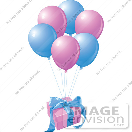 #56394 Royalty-Free (RF) Clip Art Illustration Of A Birthday Gift Floating Away With Matching Balloons by pushkin