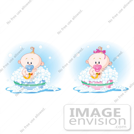 #56398 Royalty-Free (RF) Clip Art Illustration Of A Digital Collage Of A Baby Boy And Girl Taking A Bubble Bath by pushkin
