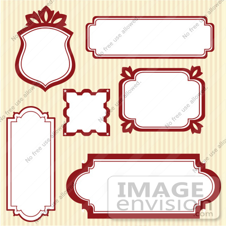 #56399 Royalty-Free (RF) Clip Art Illustration Of A Digital Collage Of Red Frames On Stripes by pushkin