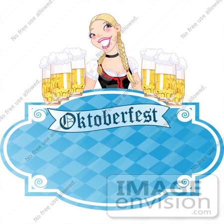 #56400 Royalty-Free (RF) Clip Art Illustration Of A Blue Oktoberfest Sign With A Blond Woman Serving Frothy Beers by pushkin