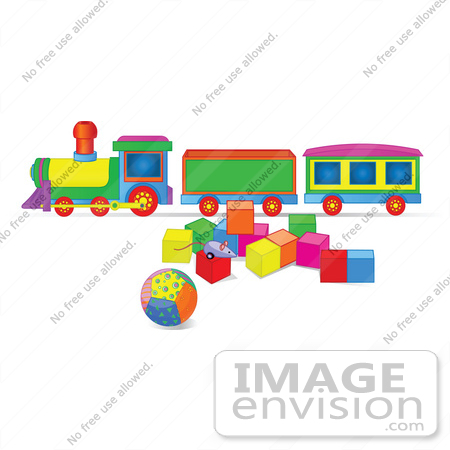 #56425 Royalty-Free (RF) Clip Art Illustration Of A Toy Train With Blocks And A Ball by pushkin