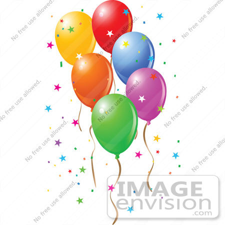 #56430 Royalty-Free (RF) Clip Art Illustration Of Colorful Party Balloons Floating With Star Confetti by pushkin
