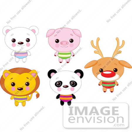#56435 Royalty-Free (RF) Clip Art Illustration Of A Digital Collage Of Cute Animals With Big Heads; Polar Bear, Pig, Lion, Panda And Rudolph by pushkin