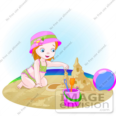 56437 Royalty Free RF Clip Art Illustration Of A Small Girl Building