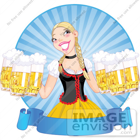 #56440 Royalty-Free (RF) Clip Art Illustration Of A Blond Beer Maiden Serving Frothy Beers At Oktoberfest, Over A Blank Blue Banner by pushkin