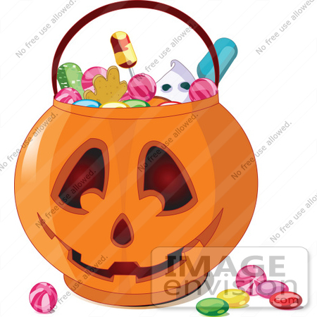 #56445 Royalty-Free (RF) Clip Art Illustration Of Halloween Candy In A Jack O Lantern Pumpkin Basket by pushkin
