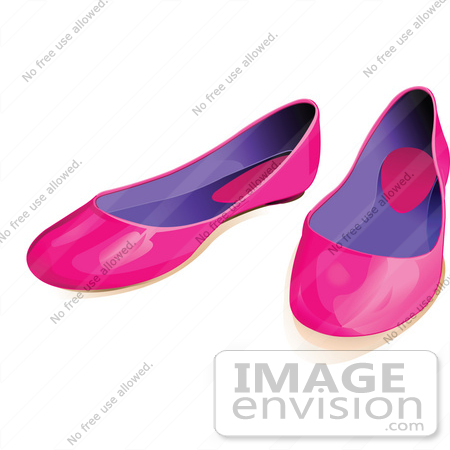 #56448 Royalty-Free (RF) Clip Art Illustration Of A Pair Of Pink And Purple Flat Shoes by pushkin