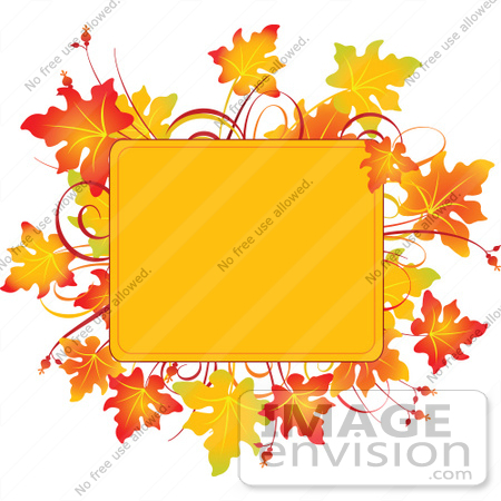 #56452 Royalty-Free (RF) Clip Art Illustration Of A Yellow Text Box Framed With Colorful Autumn Leaves by pushkin