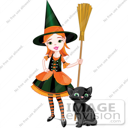 #56455 Royalty-Free (RF) Clip Art Illustration Of A Sassy Little Halloween Witch Girl With A Broom And Kitten by pushkin