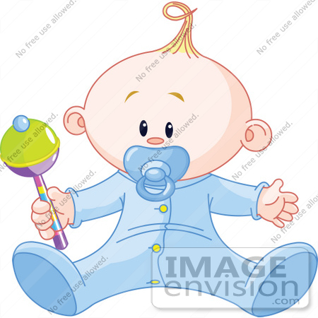 Royalty-free clip art picture of a baby boy playing with a rattle, on ...