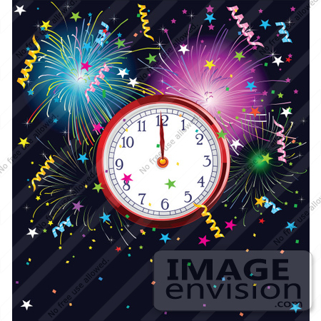 #56472 Royalty-Free (RF) Clip Art Illustration Of A New Year Clock At Midnight, Surrounded By Colorful Fireworks And Confetti Over Navy Blue by pushkin