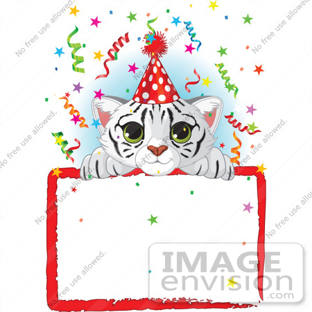 #56473 Royalty-Free (RF) Clip Art Illustration Of A Adorable White Tiger Cub Wearing A Party Hat, Looking Over A Blank Starry Sign With Colorful Confetti by pushkin