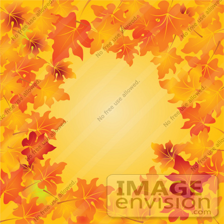 #56491 Royalty-Free (RF) Clip Art Illustration Of An Orange Background Bordered With Vibrant Autumn Leaves by pushkin