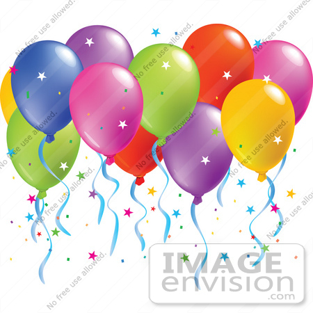 #56499 Royalty-Free (RF) Clip Art Illustration Of A Colorful Group Of Balloons Floating With Confetti by pushkin