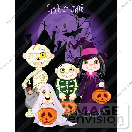 #56509 Royalty-Free (RF) Clip Art Illustration Of Children And A Dog Trick Or Treating In Mummy, Skeleton, Ghost And Witch Costumes  by pushkin