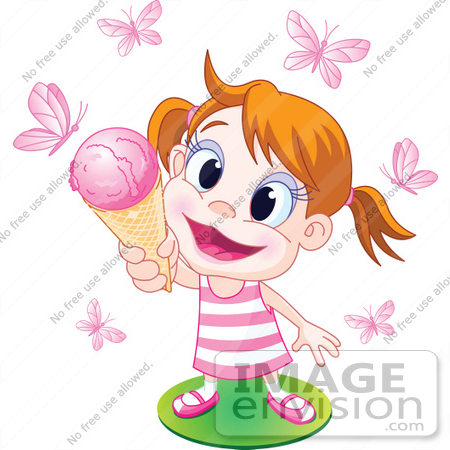 #56510 Royalty-Free (RF) Clip Art Illustration Of A Happy Little Girl Holding Up An Ice Cream Cone To Pink Butterflies by pushkin