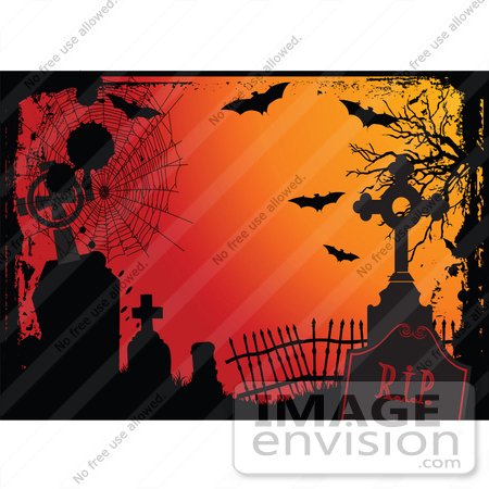 #56512 Royalty-Free (RF) Clip Art Illustration Of An Orange Halloween Background With Grunge, Webs, Tombstones And Bats by pushkin
