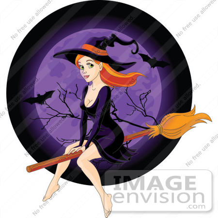 #56517 Royalty-Free (RF) Clip Art Illustration Of A Sexy Redhead Witch Flying In Front Of A Purple Full Moon With Bats by pushkin