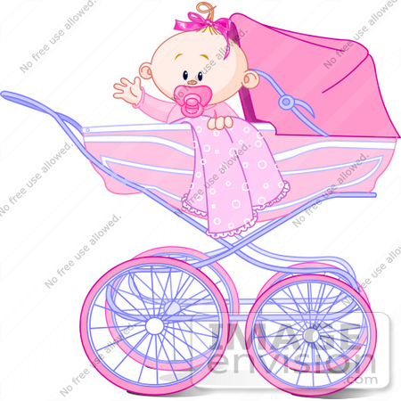 #56524 Clip Art Illustration Of A Waving Baby Girl With A Blanket And Pacifier, In A Carriage by pushkin