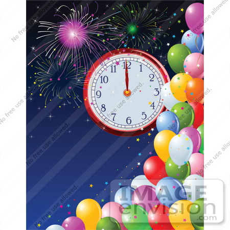 #56525 Royalty-Free (RF) Clip Art Illustration Of A New Year Clock At Midnight, Over A Blue Sky With Fireworks And Colorful Party Balloons by pushkin