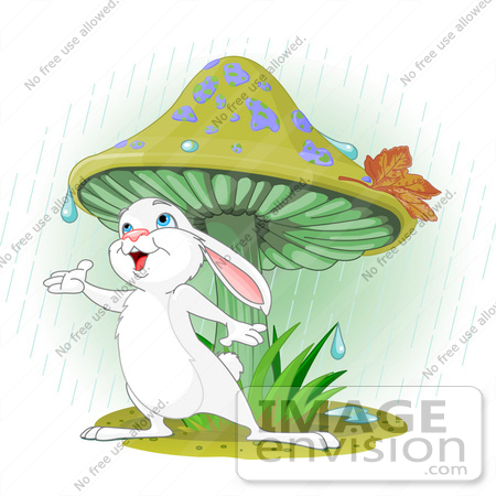 #56530 Clip Art Illustration Of A Wild White Bunny Rabbit Standing Under A Mushroom, Reaching Out To Catch Rain Drops In His Hand by pushkin