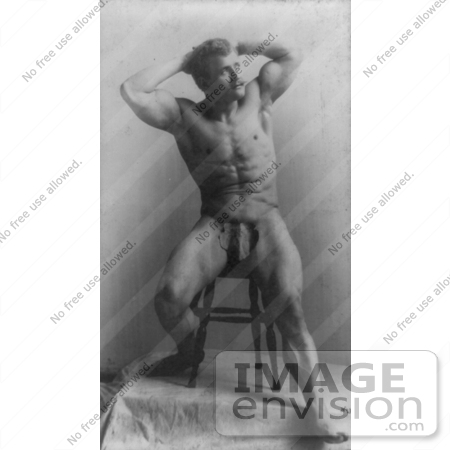 #5909 Eugen Sandow Sitting on a Stool by JVPD
