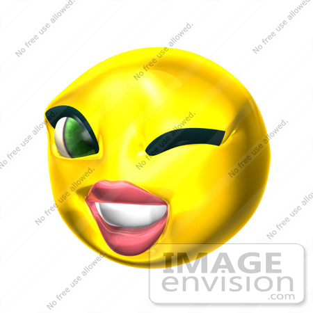 #60708 Royalty-Free (RF) Illustration Of A 3d Female Smiley Face Winking by Julos