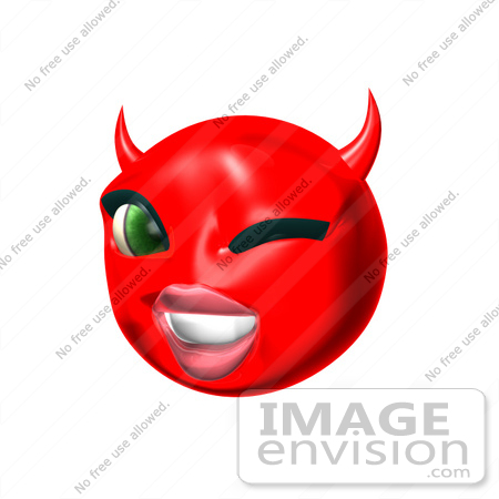 #60713 Royalty-Free (RF) Illustration Of A 3d Red She Devil Smiley Face Winking by Julos