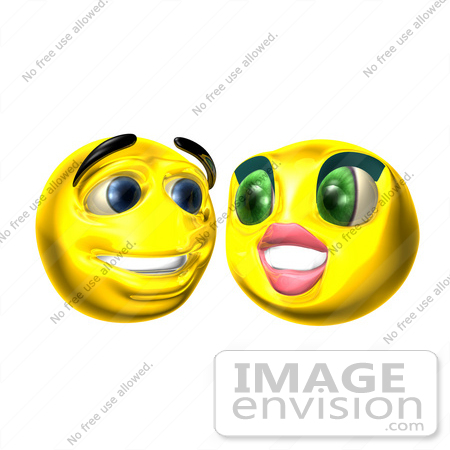 #60715 Royalty-Free (RF) Illustration Of Two 3d Smiley Faces Smiling by Julos