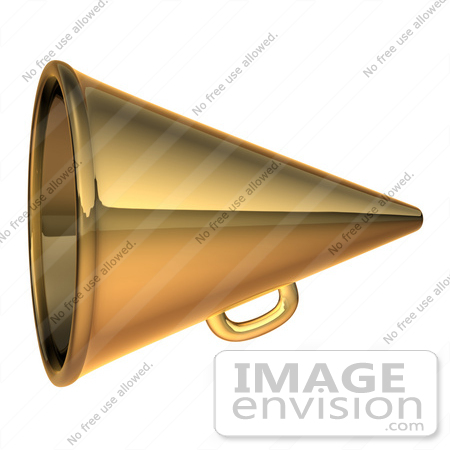 #60717 Royalty-Free (RF) Illustration Of A 3d Gold Megaphone - Version 2 by Julos