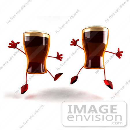 #60732 Royalty-Free (RF) Illustration Of Two 3d Beer Mascots Leaping - Version 2 by Julos