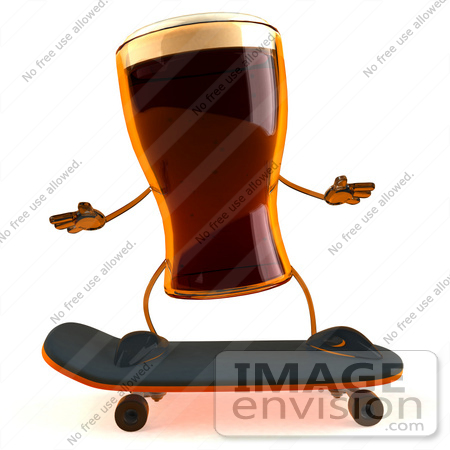#60734 Royalty-Free (RF) Illustration Of A 3d Beer Mascot Skateboarding - Version 1 by Julos