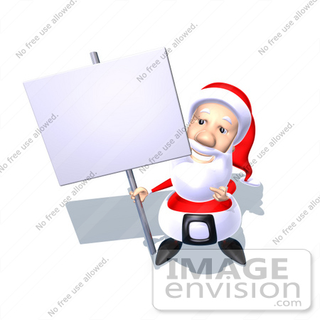 #60771 Royalty-Free (RF) Illustration Of A 3d Santa Claus Holding Up A Blank Sign On A Post - Version 4 by Julos