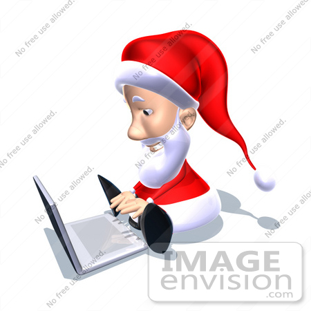 #60772 Royalty-Free (RF) Illustration Of A 3d Santa Claus Using A Laptop - Version 5 by Julos