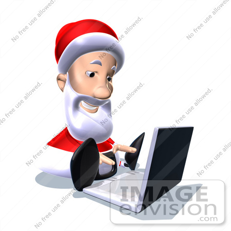 #60773 Royalty-Free (RF) Illustration Of A 3d Santa Claus Using A Laptop - Version 4 by Julos
