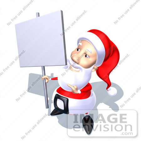 #60776 Royalty-Free (RF) Illustration Of A 3d Santa Claus Holding Up A Blank Sign On A Post - Version 6 by Julos