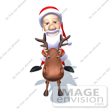 #60777 Royalty-Free (RF) Illustration Of A 3d Santa Claus Mascot Riding A Reindeer - Version 5 by Julos